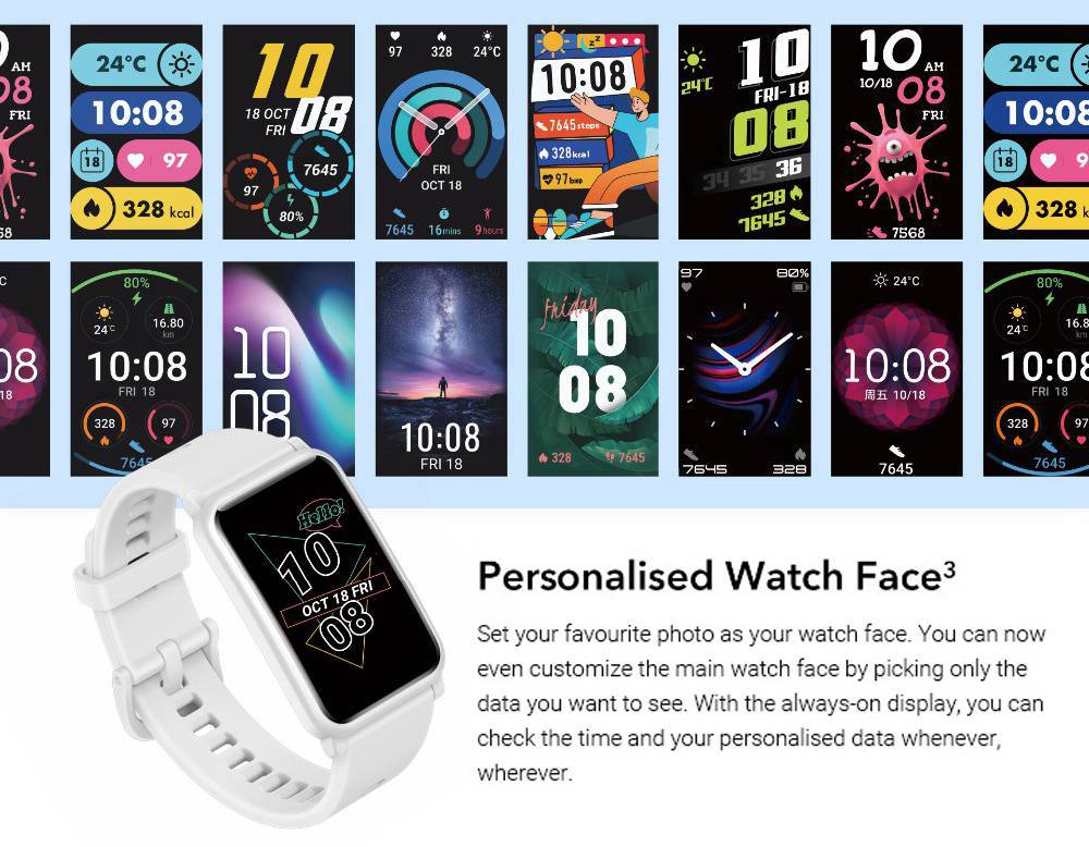 "HUAWEI  Honor ES Smartwatch 1.64"" AMOLED Touch Screen 95 Sports Modes Monitor Blood Oxygen Heart Rate Pressure Bluetooth 5.1 5ATM Waterproof - White"
