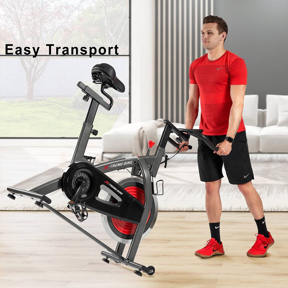 Merax Indoor Cycling Bike with 4-Way Adjustable Handle & Seat Home Fitness Stationary Cycling Machine Aerobic Portable Cardio Exercise Spinning Bike with 13KG Flywheel LCD display - Black Red