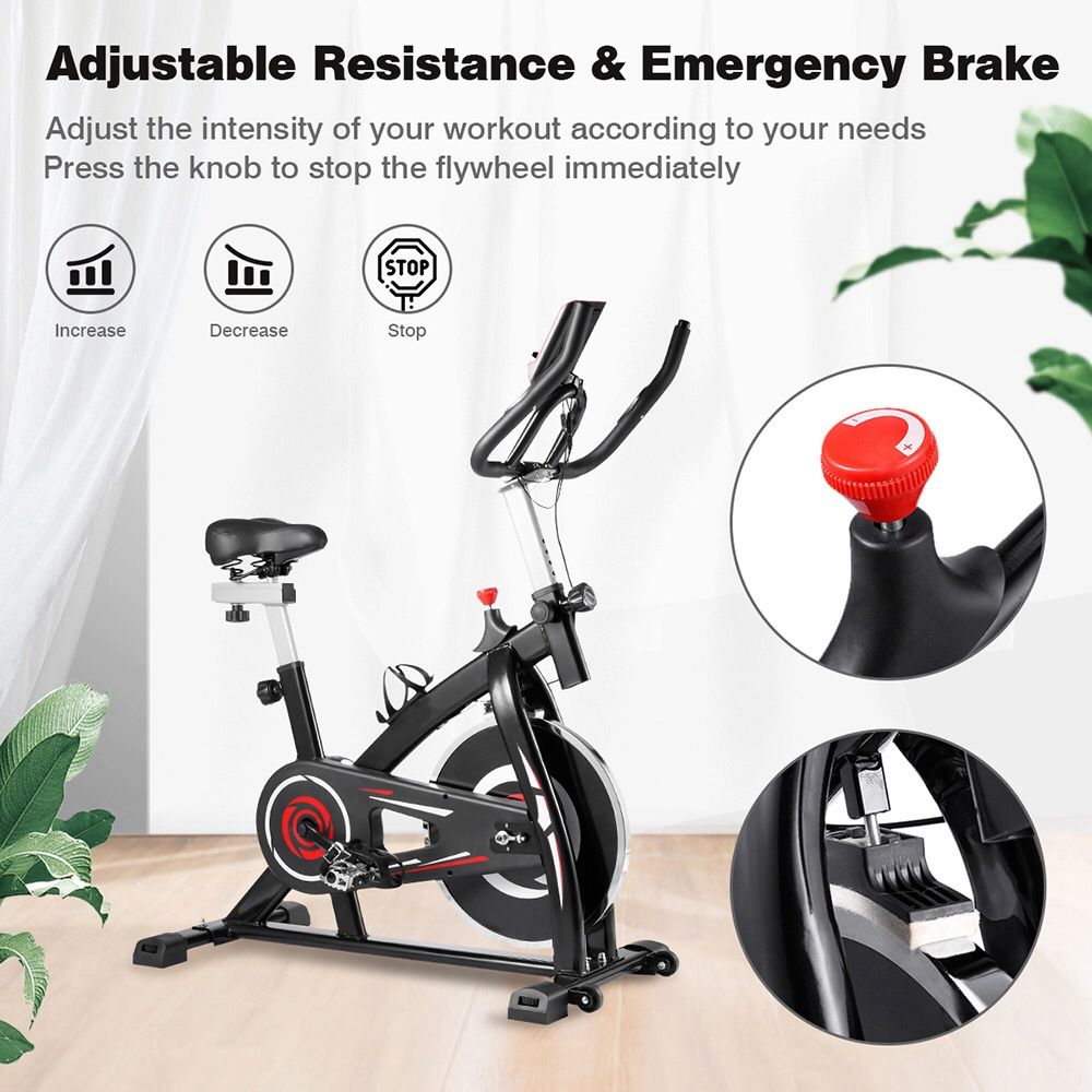 Indoor Cycling Bike with 4-Way Adjustable Handle & Seat, Home Fitness Stationary Aerobic Portable Spinning Bike - Red Black
