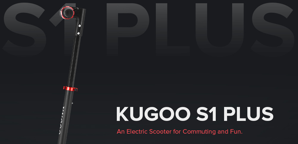 [2020 NEW] KUGOO S1 Plus Folding Electric Scooter 350W Motor 7.5Ah Clear LCD Display Screen Max 30km/h 3 Speed Modes Max Range up to 25km Easy Folding - Black