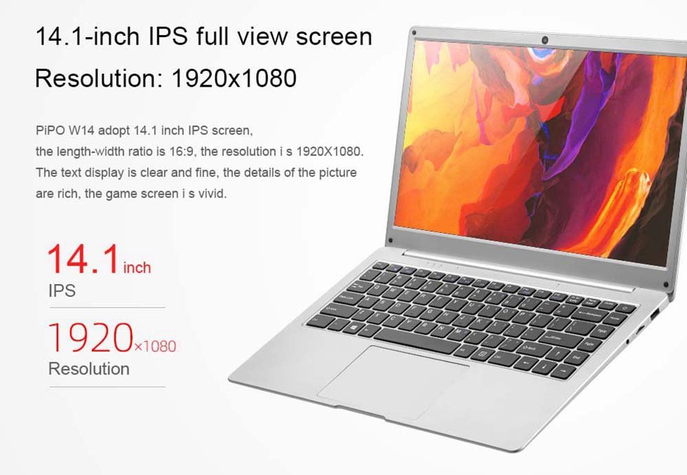 PIPO W14 Laptop 14 Inch Intel Apollo Lake N3450 1920*1080 FHD IPS 8GB RAM 128GB eMMC +128GB SSD Windows 10 - Silver