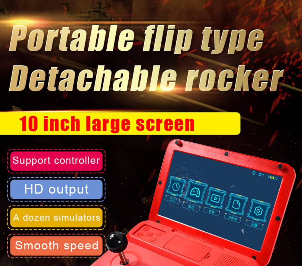 Powkiddy A13 Open Source Video Game Console 10 Inch Large Screen Detachable Joystick HD Output Mini Arcade Retro Gamepad