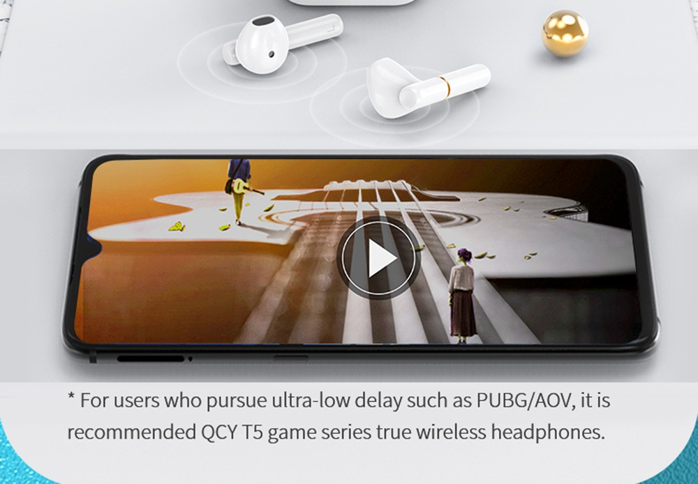 QCY T8 Bluetooth 5.0 TWS Gaming Earphones AAC SBC Type C APP Control Pop Up Pairing Voice Assistant