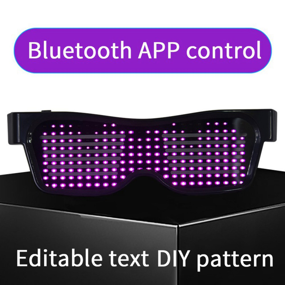 SL-004 Rechargeable Impact Resistant LED Light Emitting Bluetooth Glasses 200 Lamp Beads APP Control Support Multiple Language Editing Used for Halloween, Electronic Music, Disco, Bar - Black Frame Four Colors