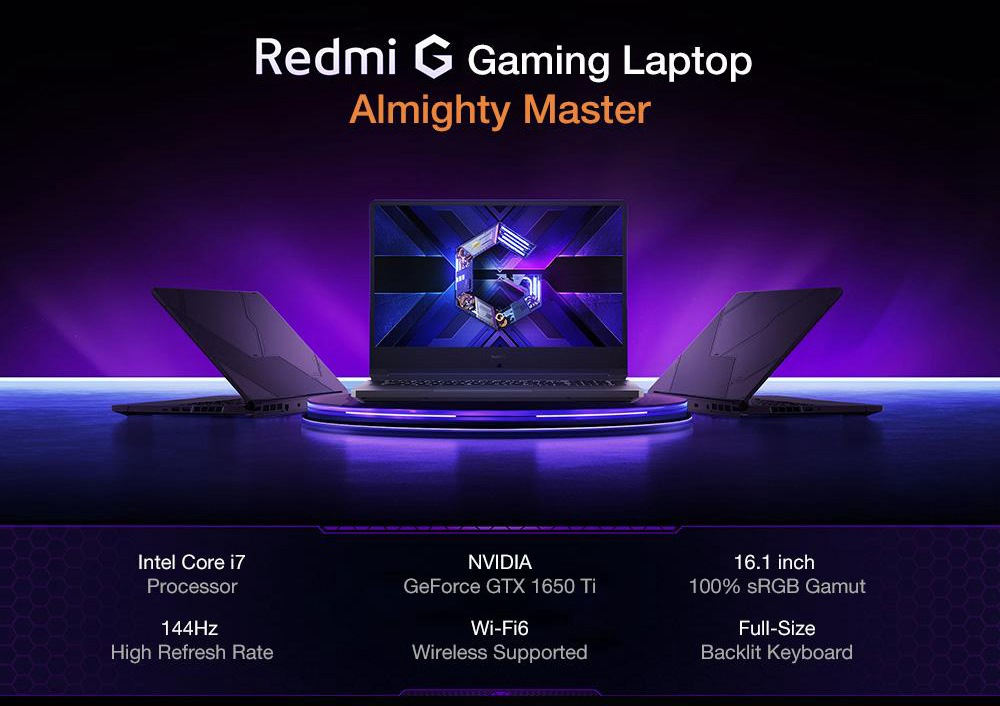 "Xiaomi Redmi G Gaming Notebook 16.1"" 144Hz IPS 1920*1080 Intel Core i7-10750H GTX 1650Ti  16GB RAM 512GB SSD Windows 10 - Black"