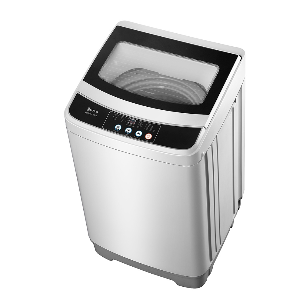ZOKOP XQB60-ZK6 Portable Automatic Drum Washing Machine 10 Programs 8 Water Levels Multi-function Control Panel LED Display Intelligent Delay Cleaning Function With Drain Pump - Gray