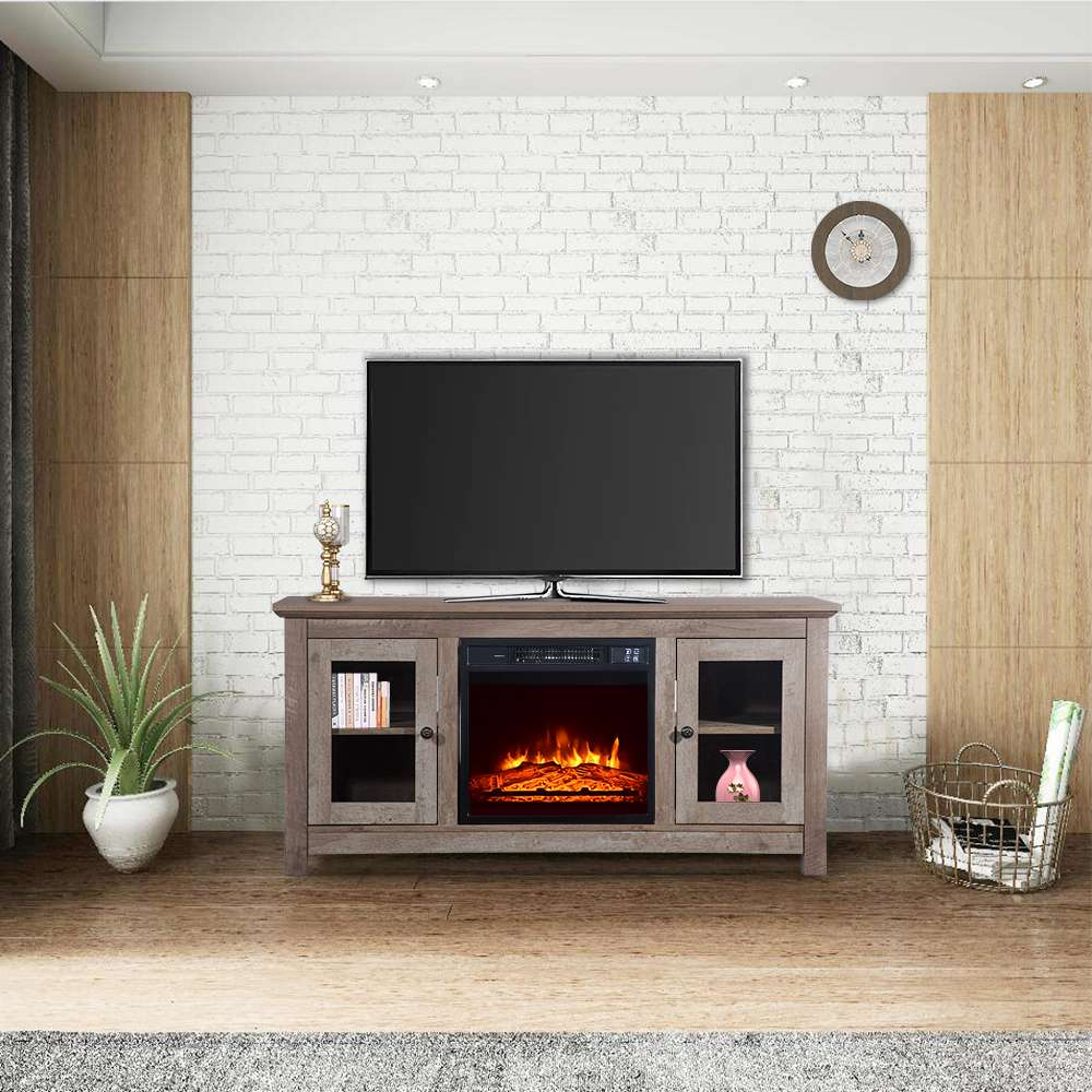 ZOKOP SF03-18G HA114-51 51 Inch Log TV Cabinet + 18 Inch Fireplace 1400W Power Adjustable Heat Dual Mode Remote Control - Black