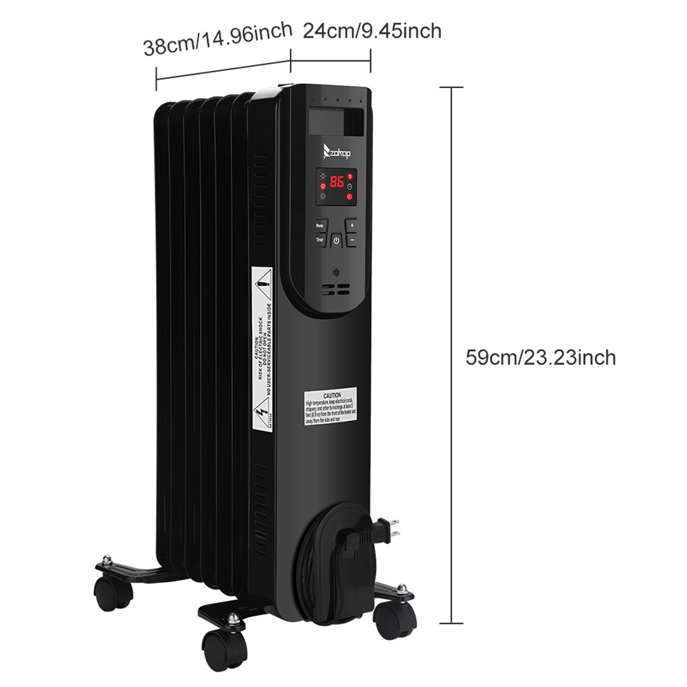 ZOKOP SH-36-7 Portable Electric Heater 1500w Power Three Heating Modes Adjustable Temperature LED Display Remote Control With Wheels - Black