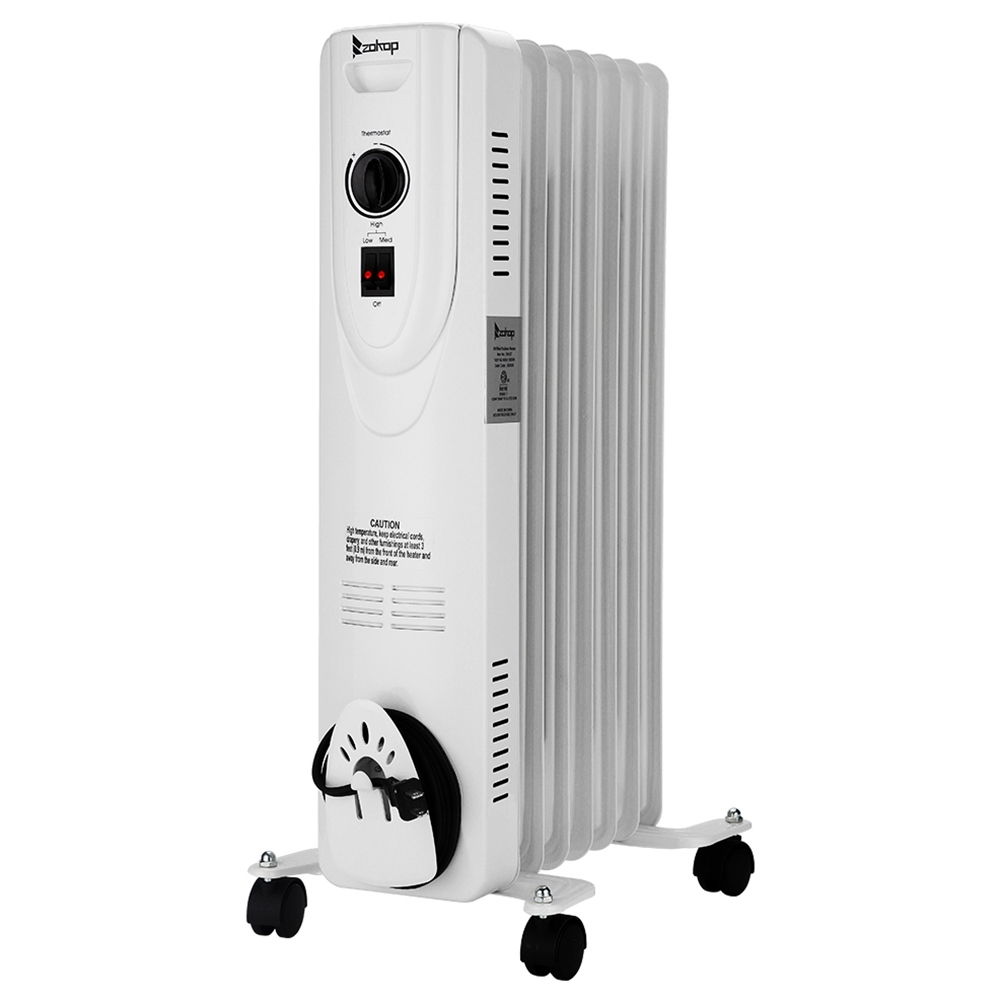ZOKOP SH-36-7 Portable Electric Heater 1500w Power Three Heating Modes Adjustable Temperature LED Display Remote Control With Wheels - White