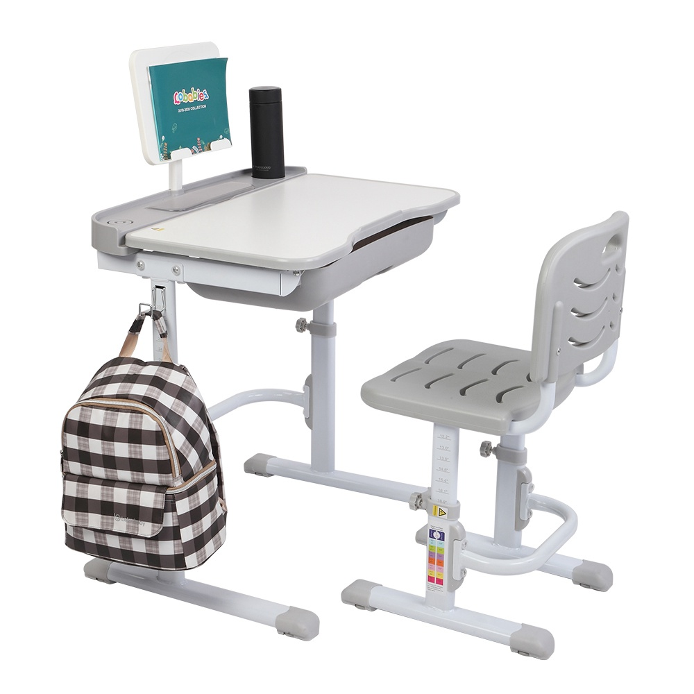 ZTGM Tiltable Non-slip Table and Chair Combination Height Adjustable Easy to Assemble and Clean With Reading Rack For Children to Learn to Read - Gray