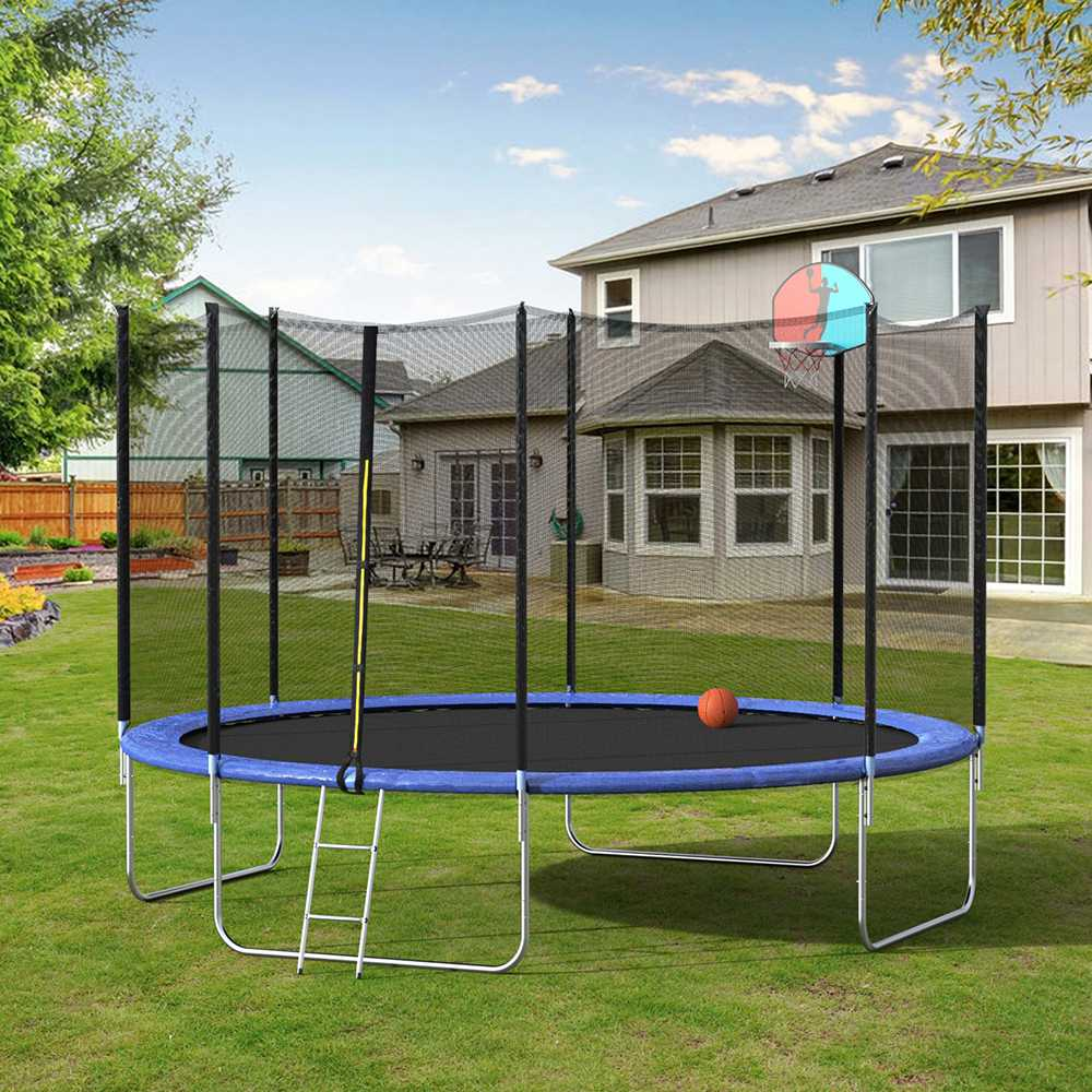 14FT Large Adult Children Outdoor Trampoline - Black