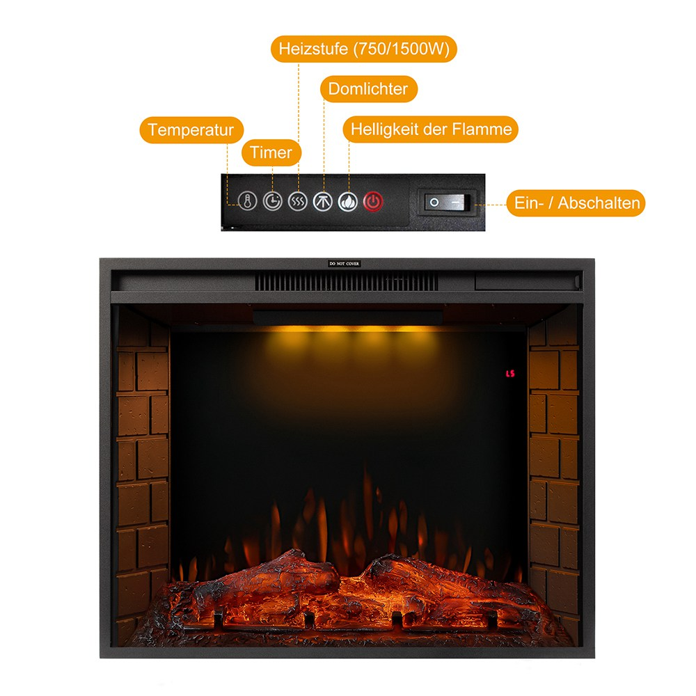 28-inch Electric Fireplace LED Flame, 750 / 1500W Two Heating Levels, Touch Screen Remote Control, With Timer, Function Can be Used Alone - Black