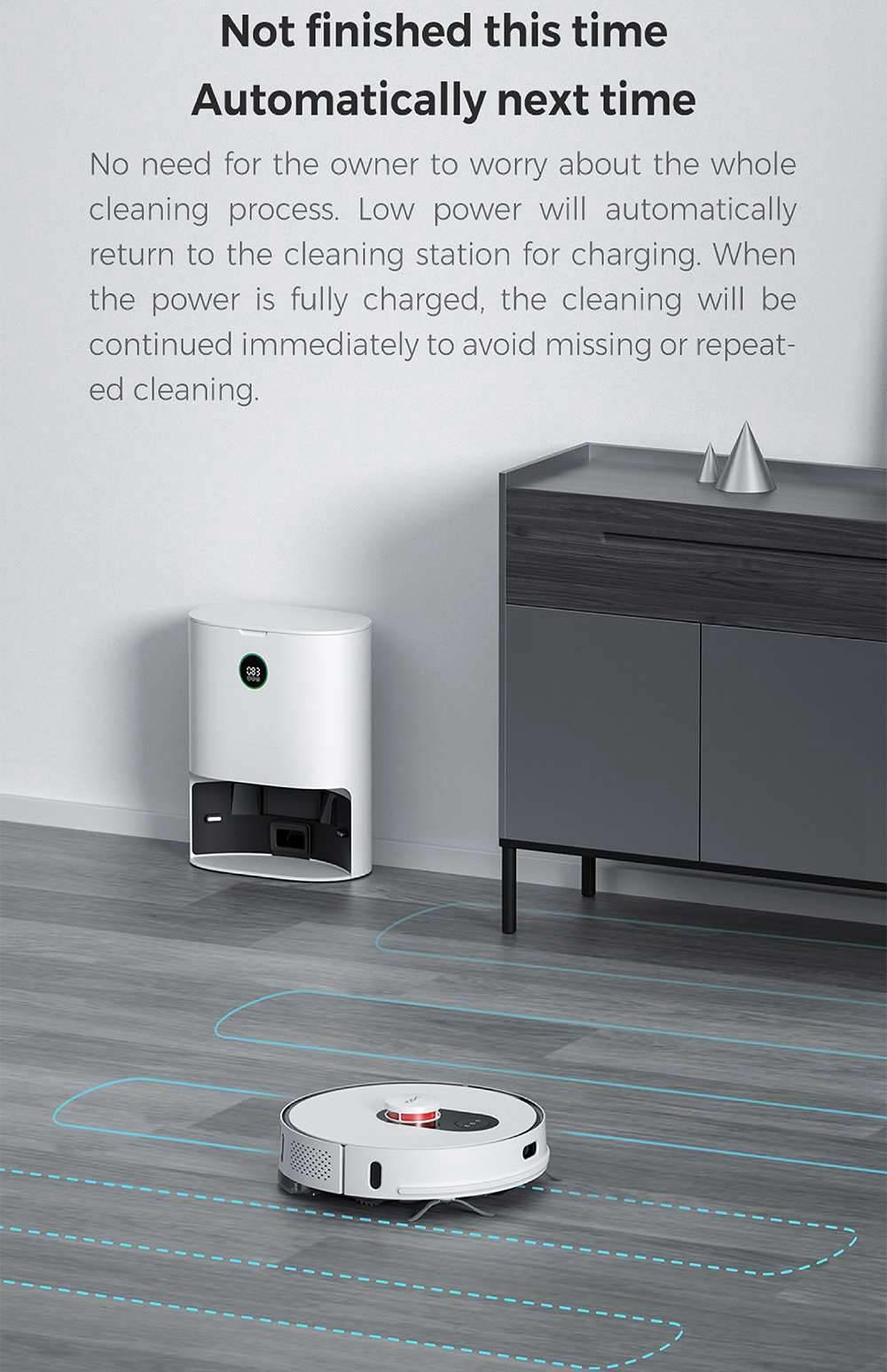 Xiaomi ROIDMI EVE Plus Robot Vacuum Cleaner with Intelligent Dust Collector Integrated Sweeping and Mopping 2700Pa Powerful Suction LDS Laser Navigation 5200mAh Battery 300ml Electric Water Tank Mijia APP Control for Pets Hair, Carpets and Hard Floor