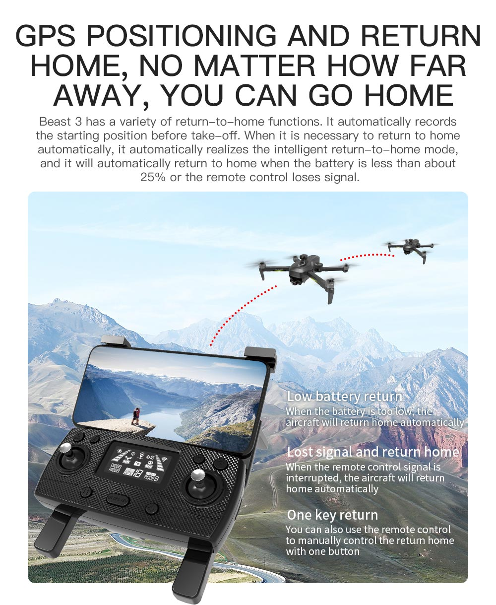 ZLRC SG906 Pro 3 MAX 4K GPS 5G WIFI FPV with 3-Axis EIS Anti-shake Gimbal Obstacle Avoidance Brushless RC Drone - Two Batteries with Bag
