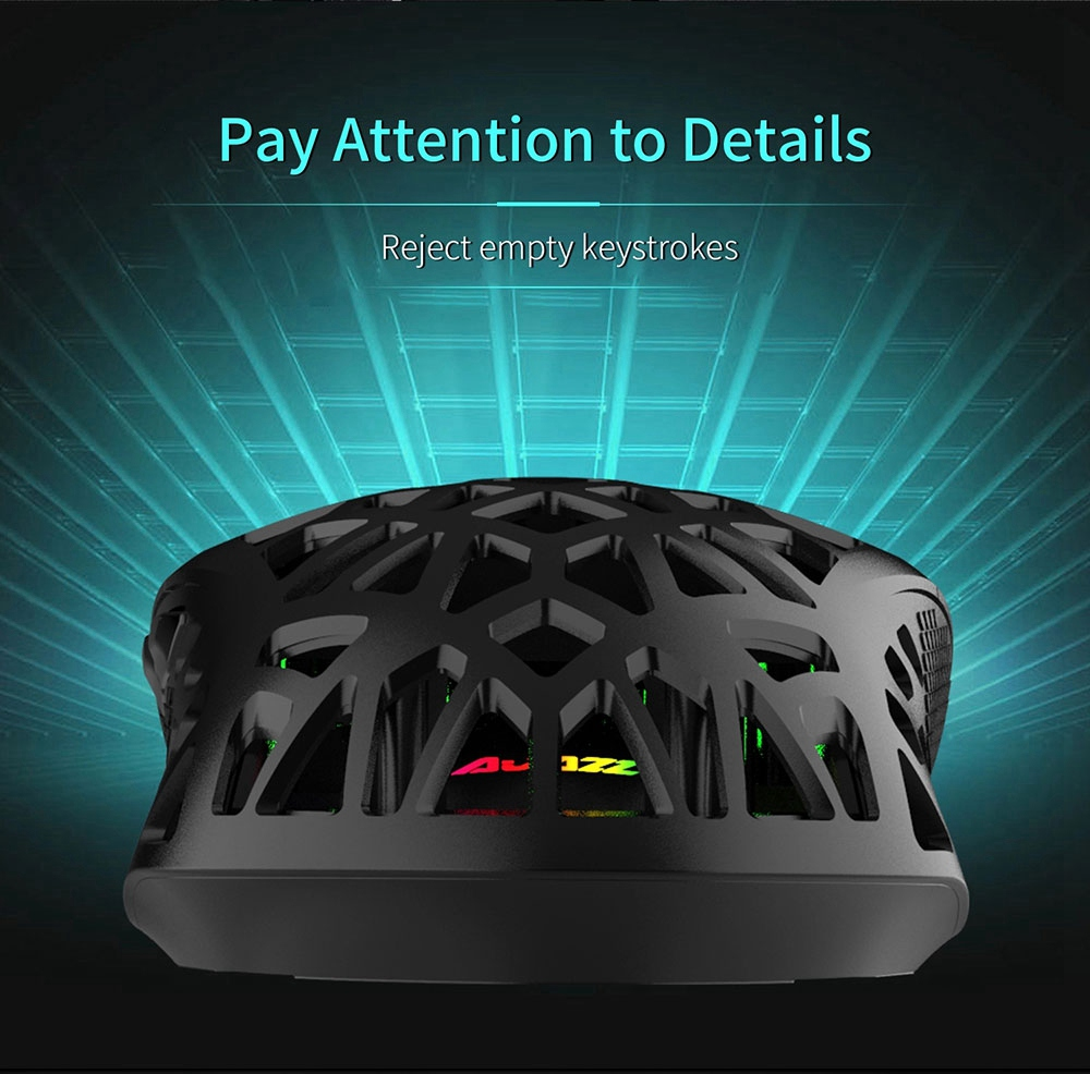 AJAZZ AJ339 New 65g Lightweight Symmetrical Ergonomic Honeycomb Design RGB Gaming Mouse  - White