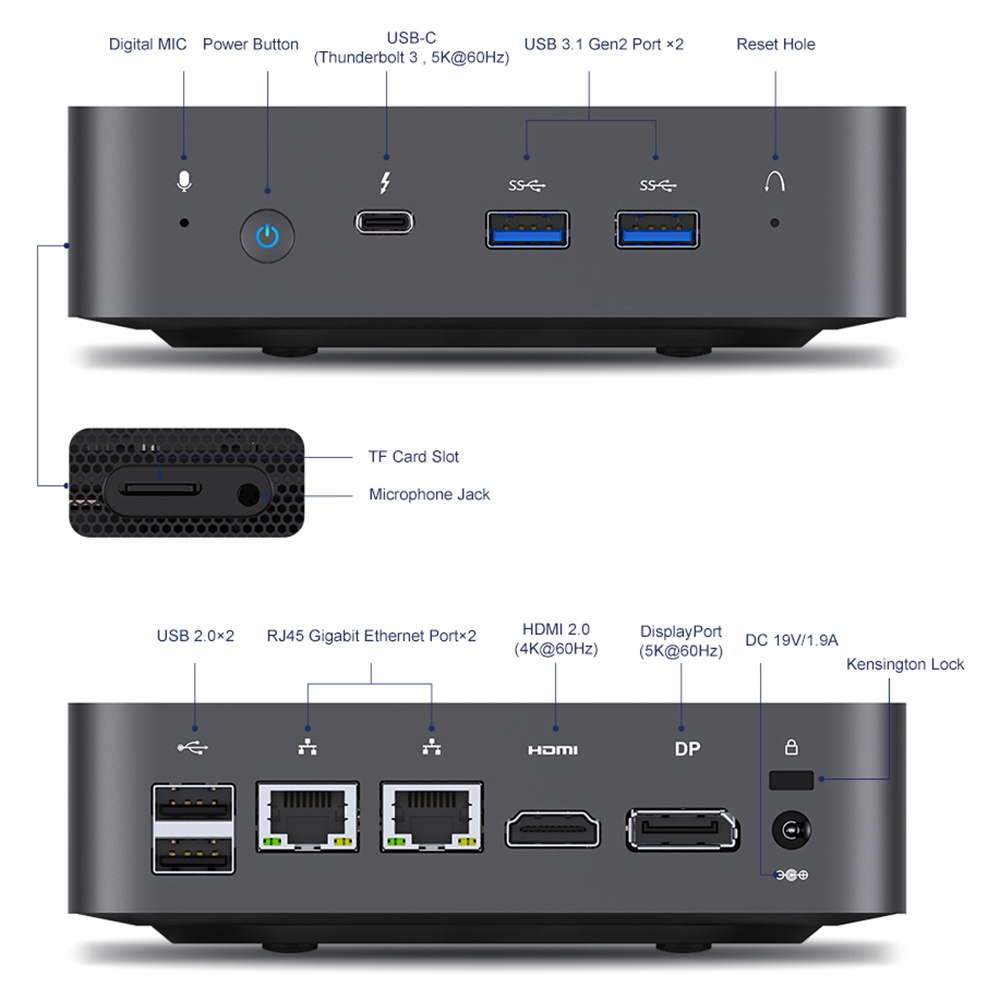 MINISFORUM X35G MINI PC Windows 10 16GB DDR4 256GB SSD Intel Ice Lake Core i3-1005G1 WIFI 6 Bluetooth5.1 Thunderbolt3 HDMI DP RJ45
