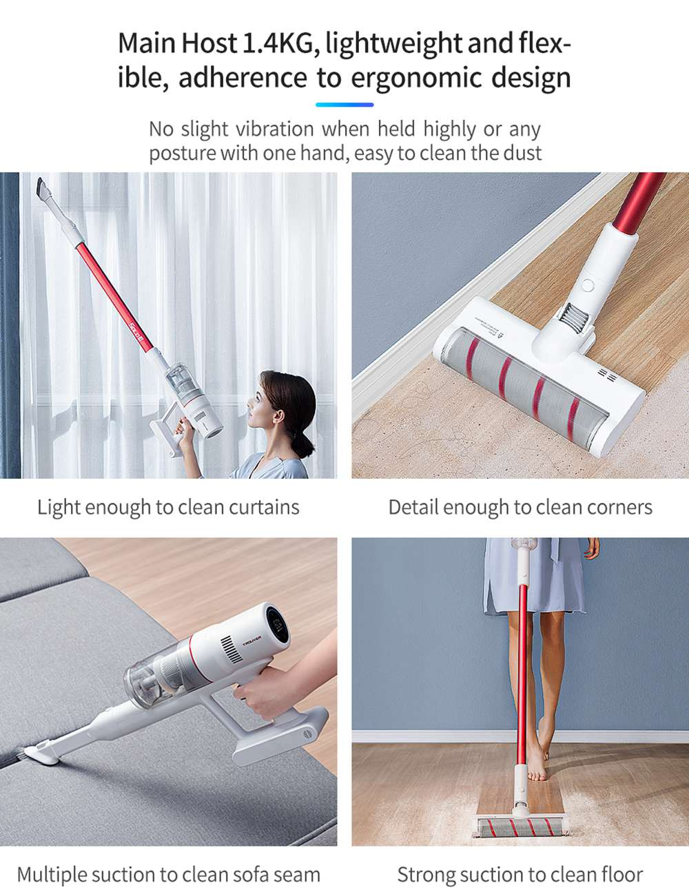 TROUVER SOLO 10 Handheld Cordless Vacuum Cleaner 300W Motor 85AW 18000Pa Strong Suction 2000 mAh Battery 48 Minutes Running Time LCD Display Removable Dust Cup - White