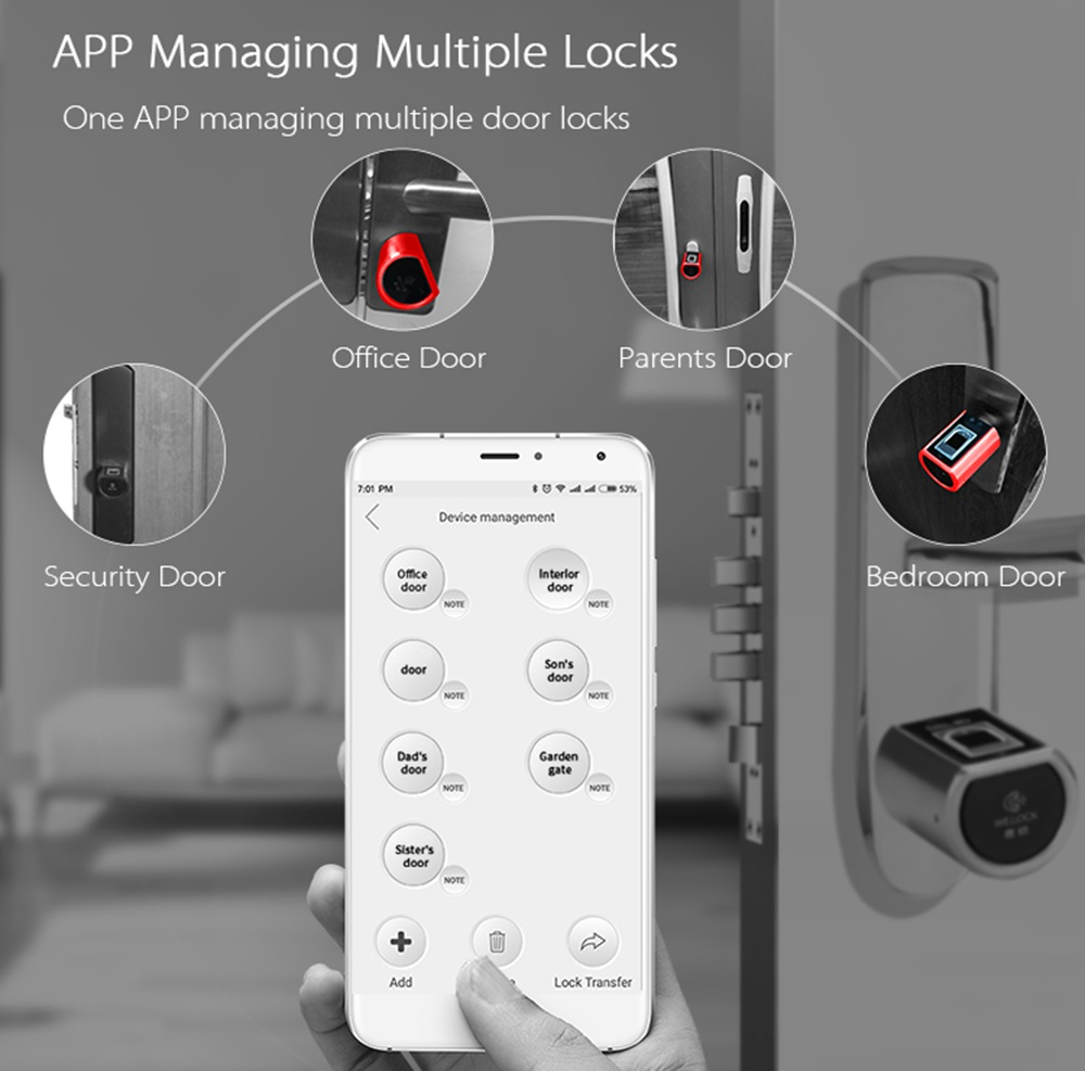 WE.LOCK SECB0EBL01 Intelligent Electronic Lock Cylinder Fingerprint + Bluetooth + Remote Control IP44 Waterproof Suitable for Doors with Thickness of 55-105mm Support Multiple Languages - Silver