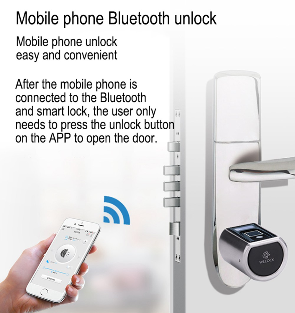 WE.LOCK SECB0EBL01 Intelligent Electronic Lock Cylinder Fingerprint + RFID Card + Bluetooth Control LCD Display IP44 Waterproof Suitable for Doors with Thickness of 55-105mm Support Multiple Languages - Silver