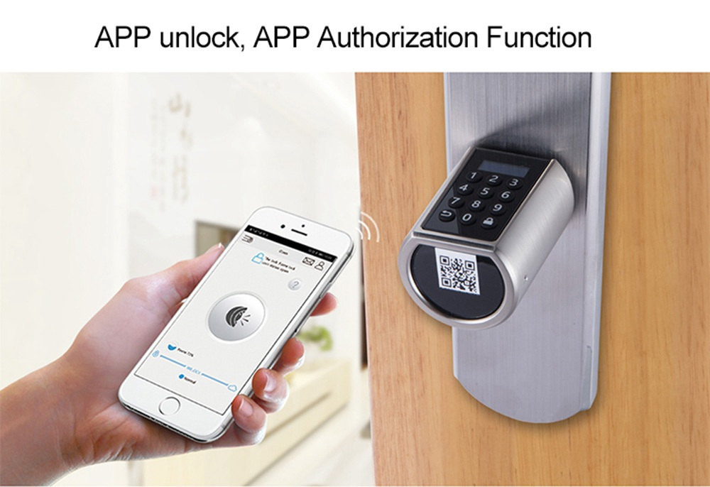 WE.LOCK SECB0EBL01 Intelligent Electronic Lock Cylinder Password + RFID Card + Bluetooth Control IP44 Waterproof Suitable for Doors with Thickness of 55-105mm Support Multiple Languages - Silver