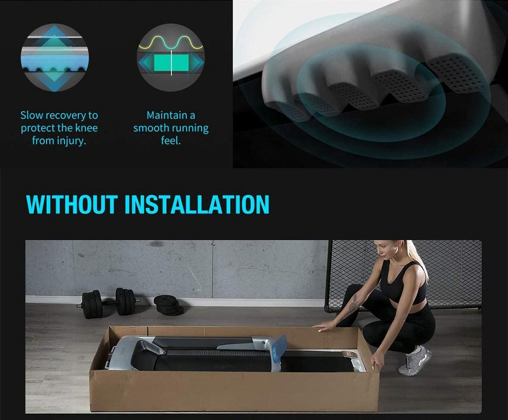 XQIAO OVICX Q2S Tapis de course ultra-mince pour machine de marche pliante intelligente pour entraînement, équipement de fitness, exercice intérieur et extérieur avec décélération intelligente, contrôle APP, écran LED - Version UE