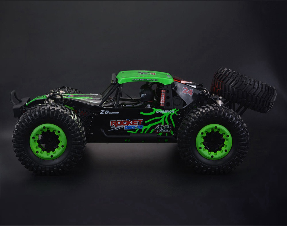 ZD Racing DBX-10 2.4G 1/10 4WD 80km/h Desert Truck Off Road Brushless RC Car - Green with Spare Tire