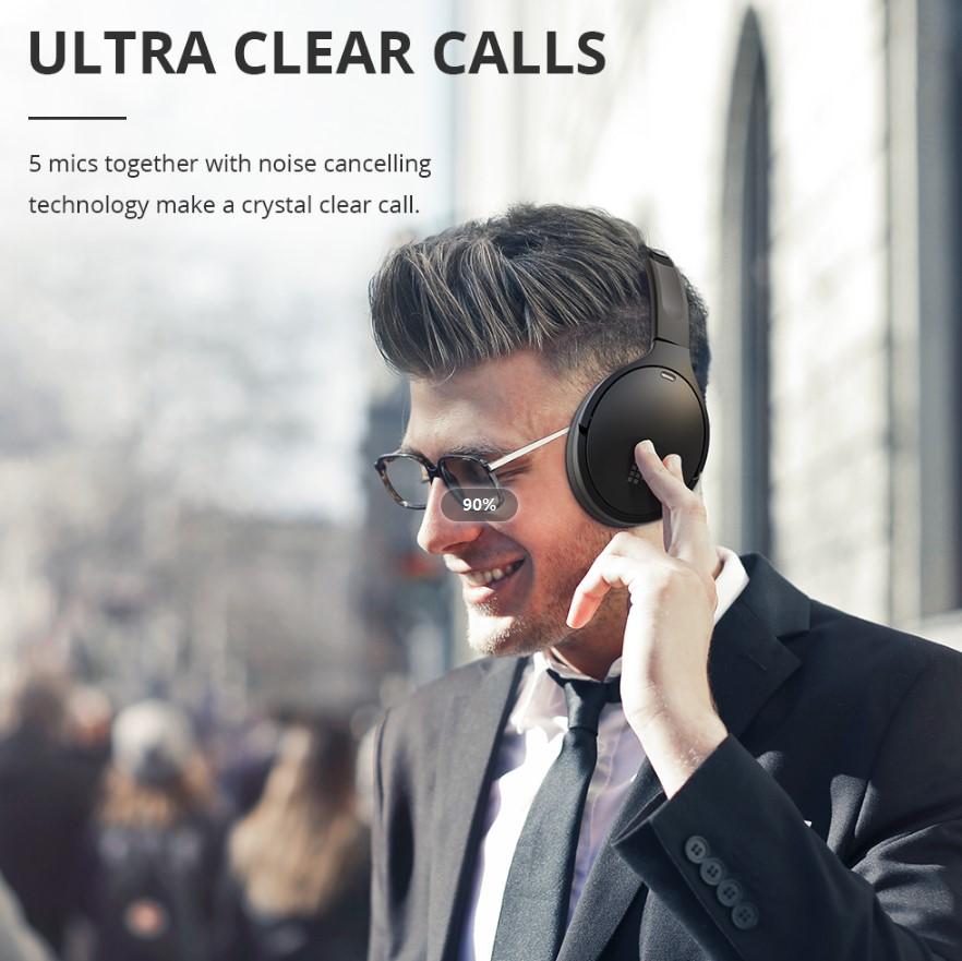 Tronsmart Apollo Q10 ANC Bluetooth Headphones 35dB 100 Hours Battery Life 5 Mics - Black