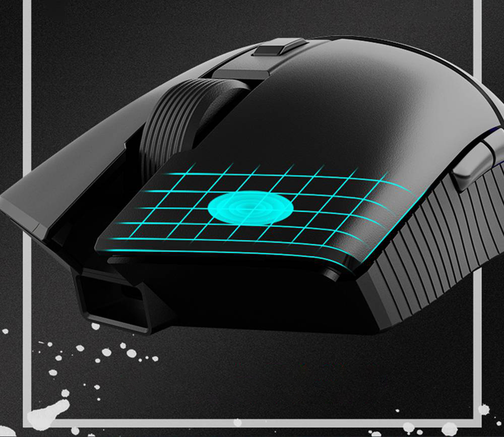 AJAZZ i309Pro Wireless Mouse Rechargeable 2.4G Bluetooth Dual Mode PAW3338 16000DPI Professional E-Sports Gaming Mouse - Black