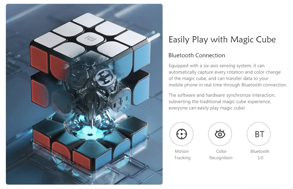 Xiaomi Smart Magic Cube Bluetooth 5.0 Six-axis Sensor 3x3x3 Square Magnetic Cube Puzzle Toy