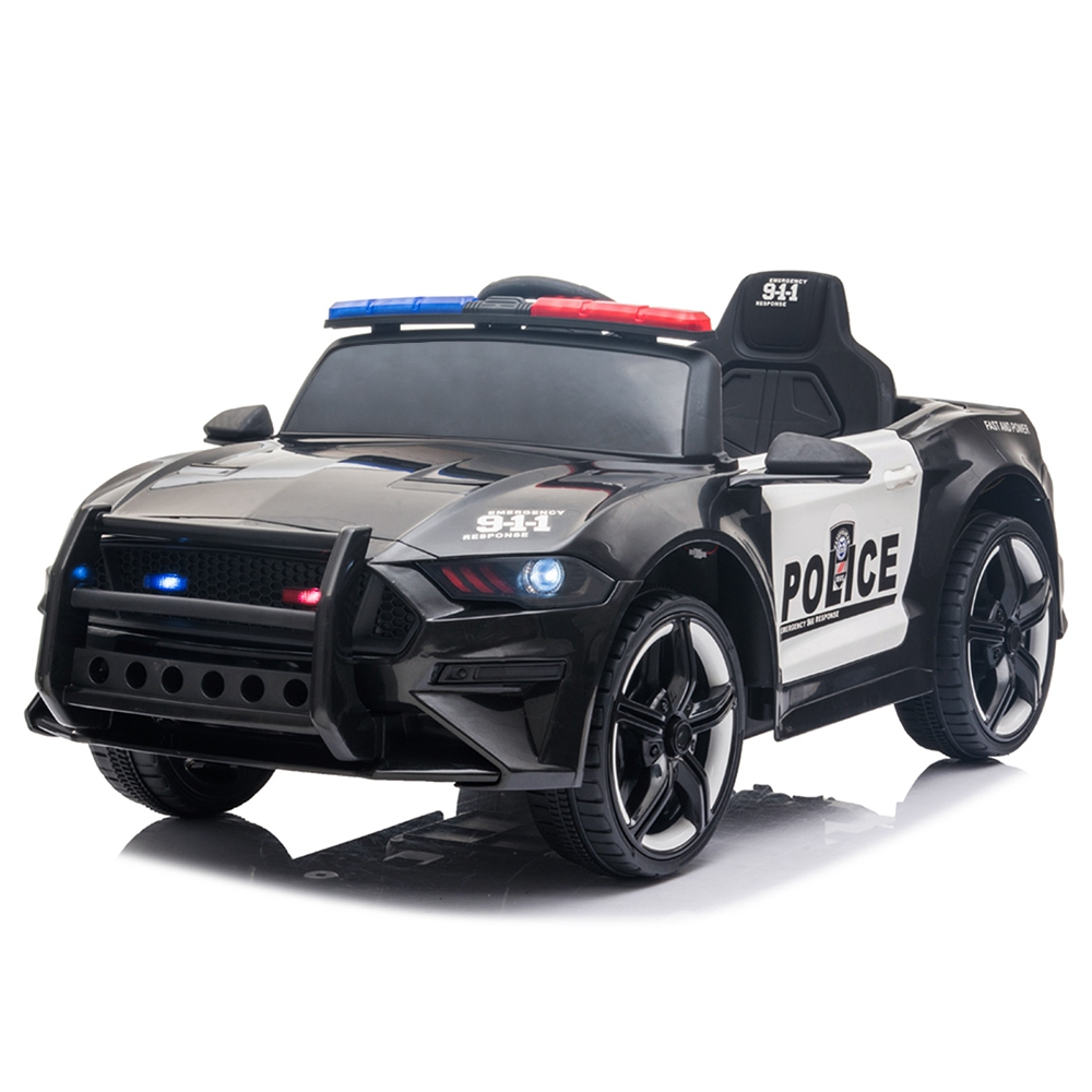 12V Kids Ride On Police Car with 2.4GHZ Remote Control LED Lights Siren Microphone - Black + White