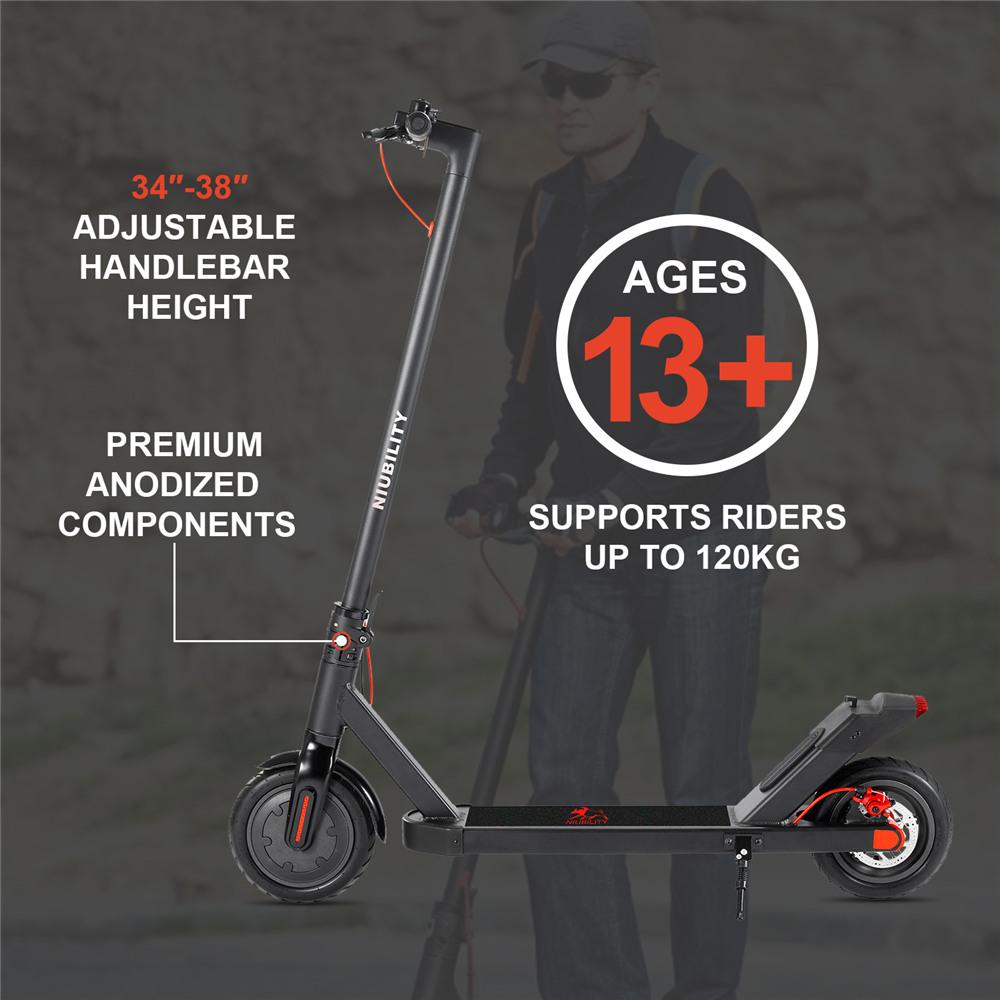 NIUBILITY N1 Electric Scooter 7.8Ah Battery 250W Motor up to 25KM Mileage Range 8.5 inch Wheel 25Km/h Disk Brake - Black