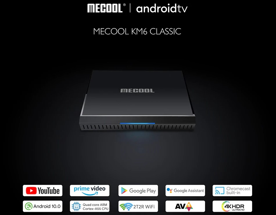 MECOOL KM6 Classic Amlogic S905X4 Android 10.0 TV Box 2GB/16GB 4K HDR ATV 2T2R WiFi Bluetooth 4.2