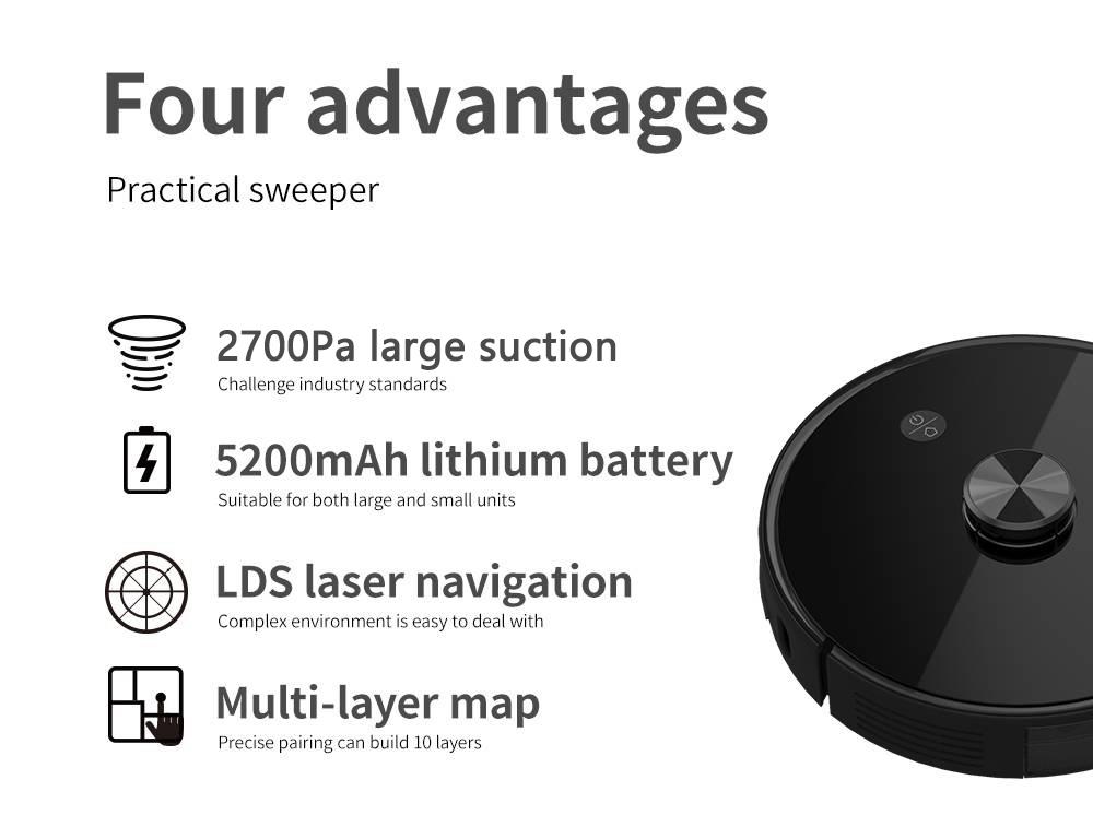 Nutikas tolmuimeja Proscenic M7 Pro LDS, nutika tolmukoguja, lasernavigatsiooni, võimsa 2700Pa imemise, rakenduse ja Alexa juhtimisega, mitmekordne kaardistamine, ideaalne lemmikloomade juustele, vaipadele ja kõvadele põrandatele - must