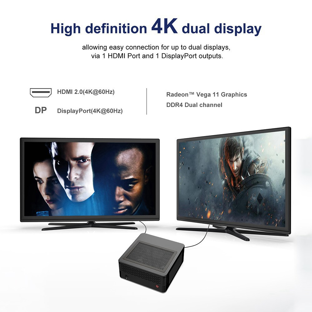 Minisforum X300 AMD Ryzen 5 PRO 3400GE 16GB / 512GB Mini PC Windows 10 Pro Radeon Vega 11 Graphics HDMI DP