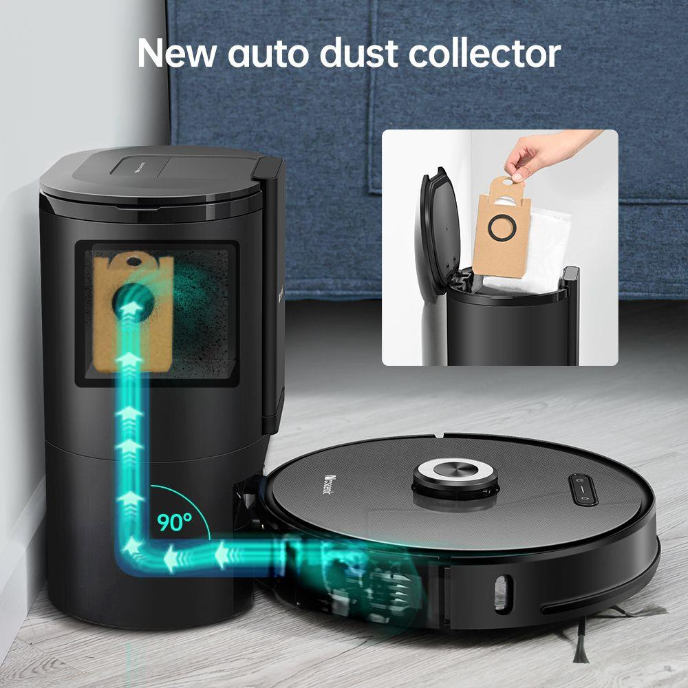 Proscenic M8 Pro Smart Robot Vacuum Cleaner with Intelligent Dust Collector LDS Laser Navigation 2700Pa Suction 5200mAh Battery 2 in 1 Vacuuming and Mopping APP Remote Control for Pets Hair, Carpets and Hard Floor - Black