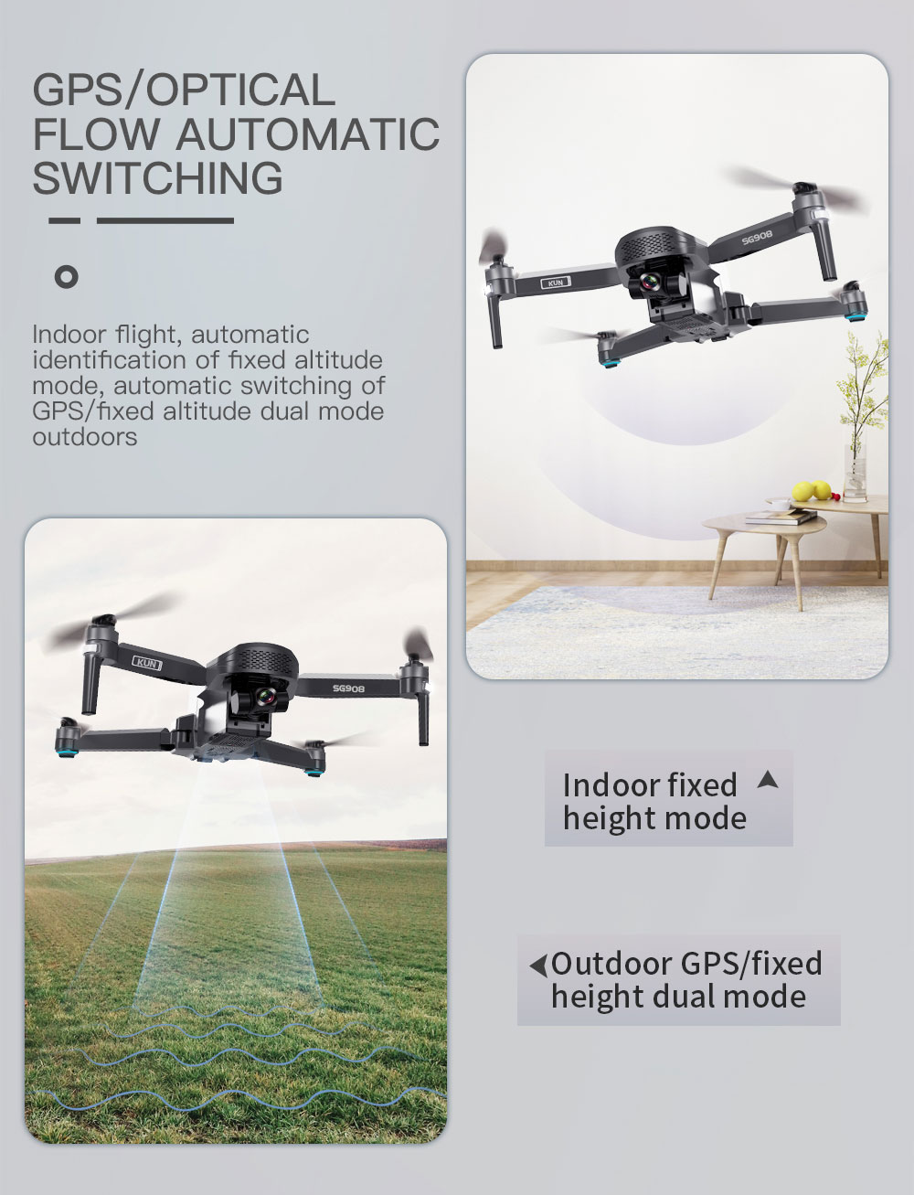 ZLL SG908 4K GPS 5G WIFI FPV with 3-Axis Gimbal Optical Flow Positioning Brushless RC Drone - Three Batteries with Bag