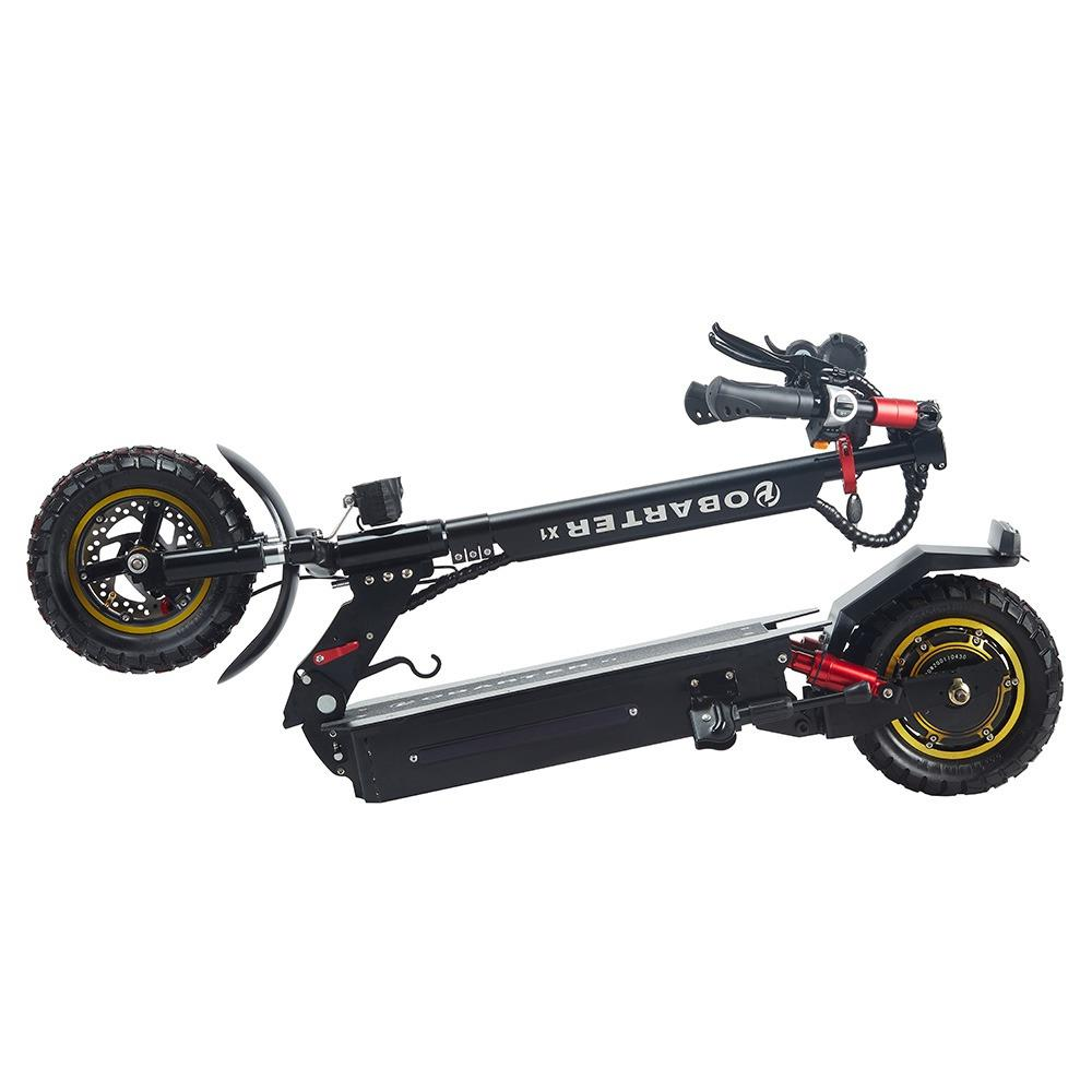 """OBARTER X1 Folding Electric Sport Scooter 10"""" Off-road tyre 500W Brushless Motor 48V 20Ah Battery BMS 3 Speed Modes Dual Disc Brake Max Speed 55KM/h LED Display 40-50KM Long Range - Black"""