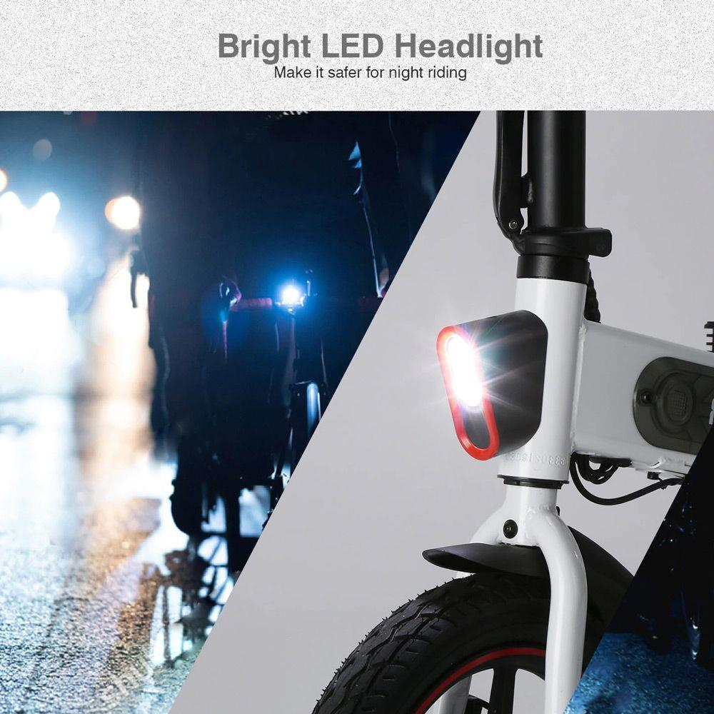 DOHIKER Y1 Folding Electric Bicycle 36V 350W 14 inch 10Ah Battery 25km/h City Bike LED Headlight IP54 Waterproof - White