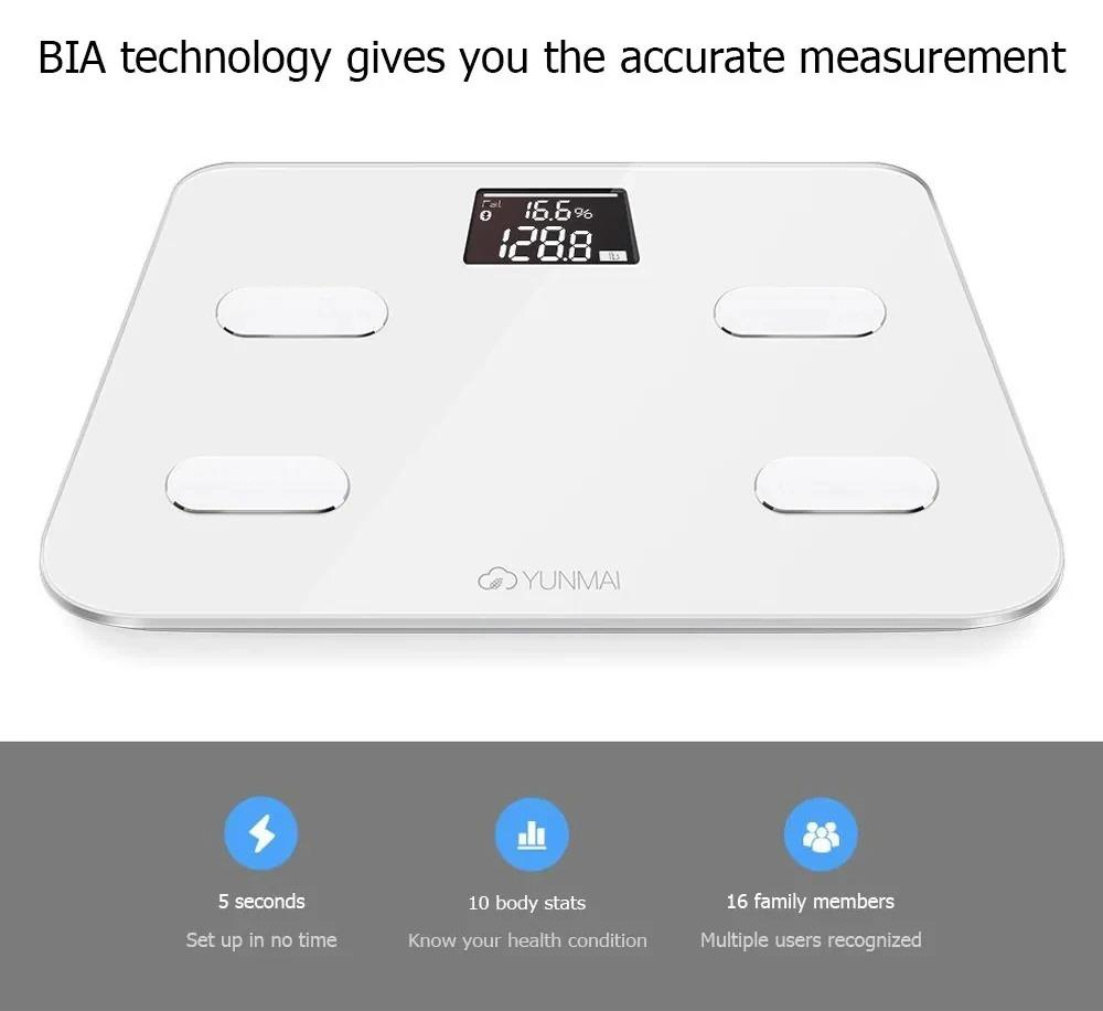 YUNMAI S Smart Bluetooth Body Fat Scale Rechargeable Battery APP Control - White