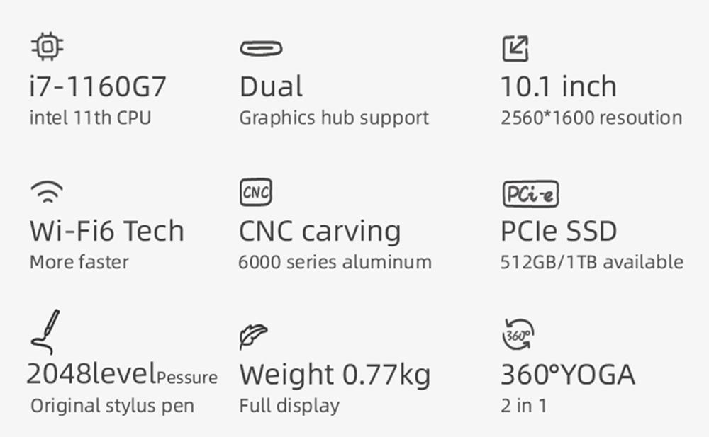 Один нетбук 4 Платиновый ноутбук 360 градусов YOGA 10.1-дюймовый сенсорный экран Intel Core i7-1160G7 16 ГБ DDR4 RAM 512 ГБ PCI-E SSD WiFi 6 Отпечаток пальца Windows 10 - черный