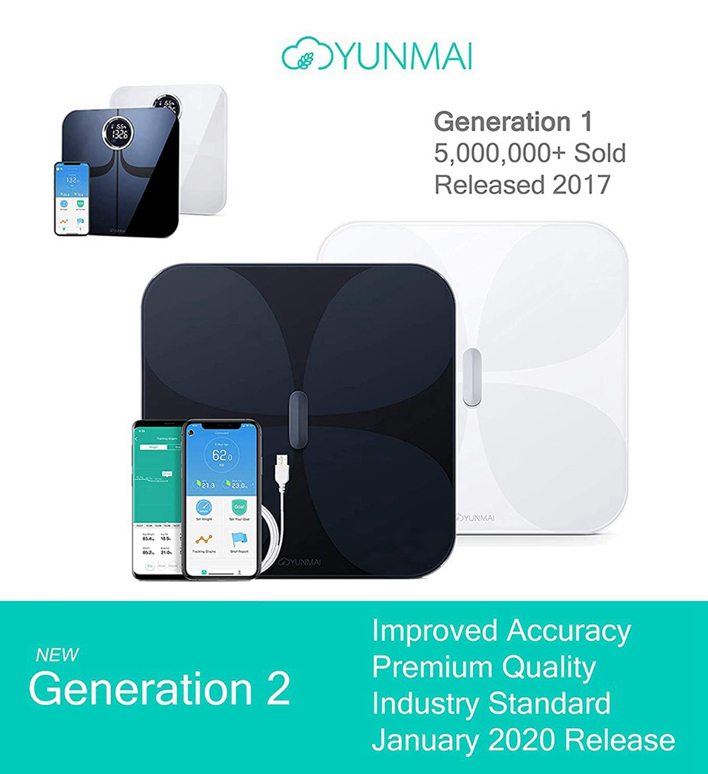 YUNMAI Pro Smart Bluetooth Body Fat Scale Rechargeable Battery APP Control - Black