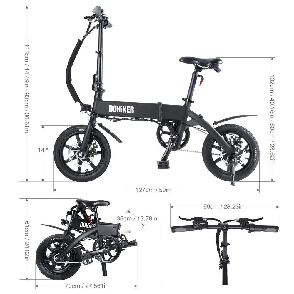 "DOHIKER KSB14 Folding Electric Bicycle 36V 250W Brushless Motor 14"" CST Tire 10Ah Battery 25km/h City Bike LED Headlight Dual Disc Brakes Foldable Design - Black"