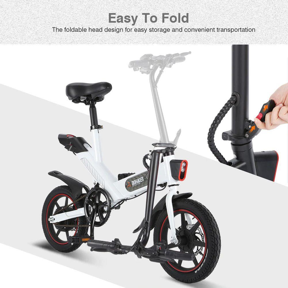 DOHIKER Y1 Folding Electric Bicycle 36V 350W 14 inch 10Ah Battery 25km/h City Bike LED Headlight IP54 Waterproof - Black