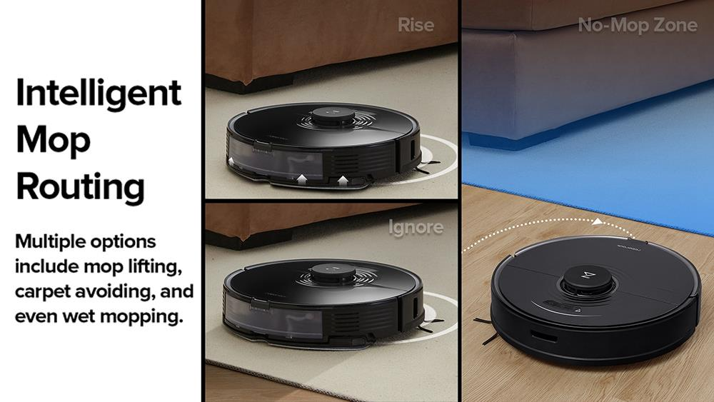 Roborock S7 Robot Vacuum Cleaner with Sonic Mopping Auto Mop Lifting 2500Pa Powerful Suction LiDAR Navigation Ultrasonic Carpet Recognition 5200mAh Battery 470ml Dustbin 300ml Water Tank APP Control for Pets Hair, Carpets and Hard Floor - Black