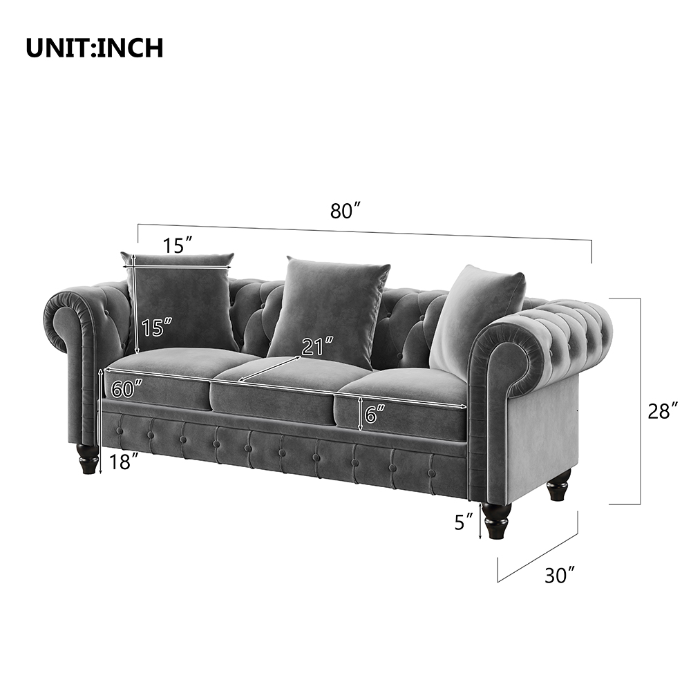 "80"" Velvet Upholstered Sofa Chesterfield Design with Roll Arm and 3 Pillows Suitable for Three People - Gray"