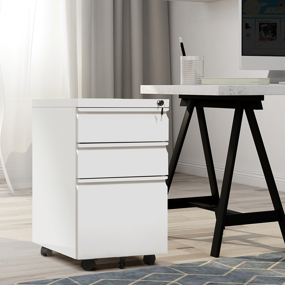 Home Office Steel Removable File Cabinet with 3 Drawers and Casters - White