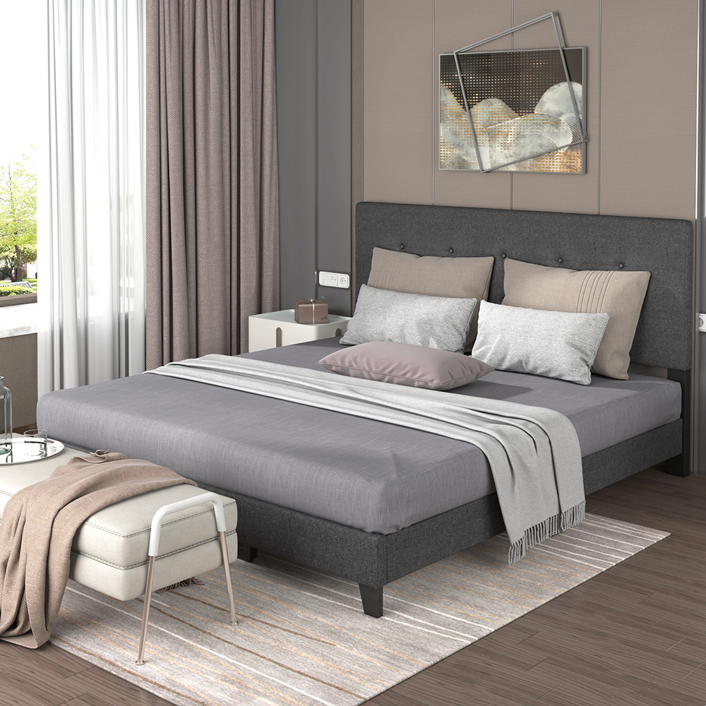 TOPMAX Upholstered Platform Bed Frame with Wooden Slat Support and Tufted Headboard King Size (Only Frame) - Dark Grey