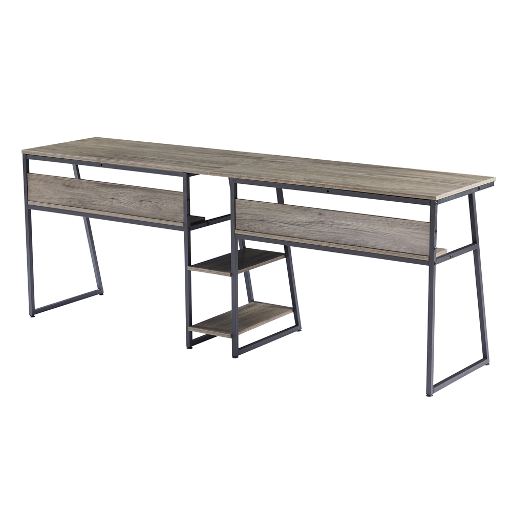Dual Person Office Computer Desk, with Open Bookshelf and Double Shelf, Easy to Clean - Gray Brown