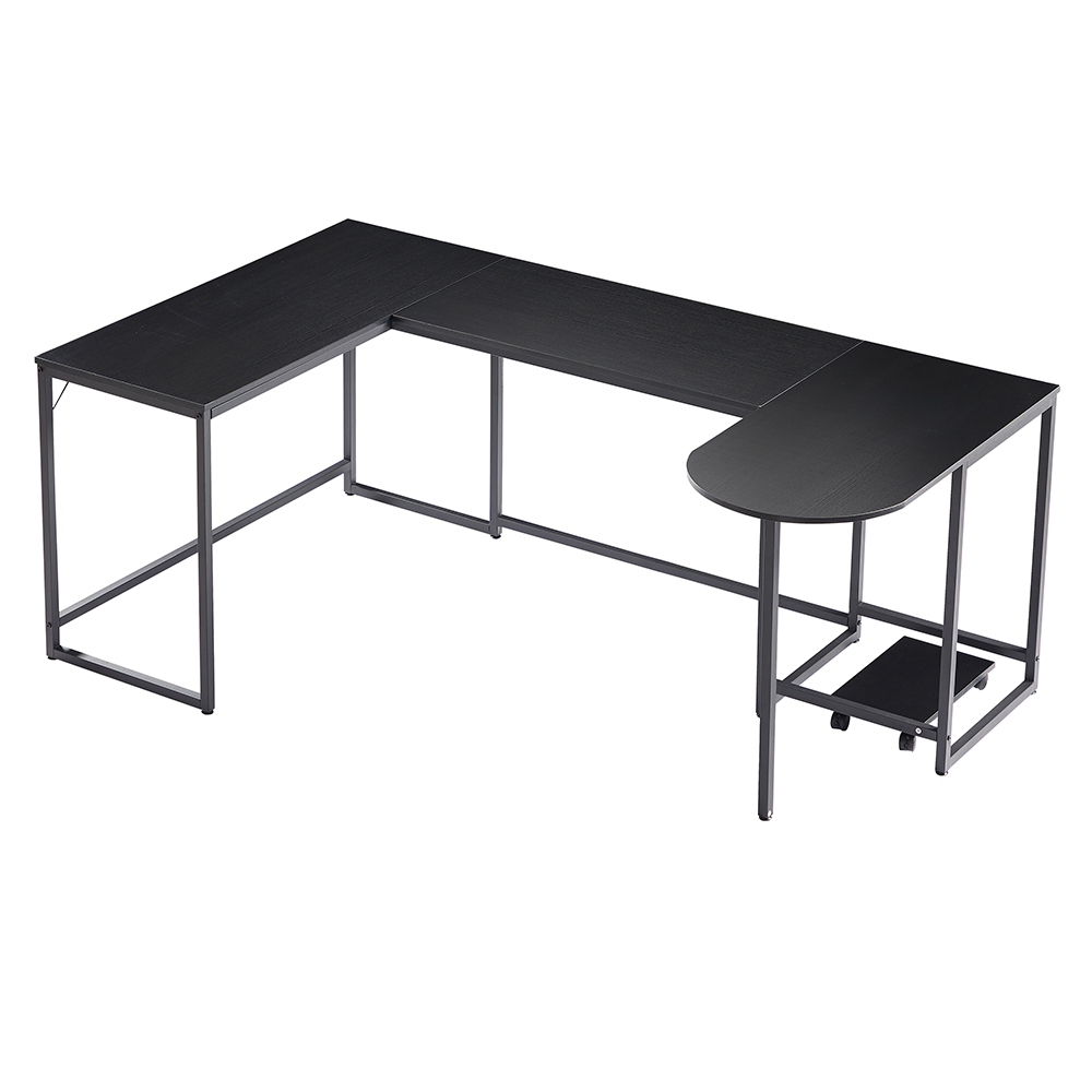 U-shaped Computer Desk, Industrial Corner Writing Desk with CPU Stand, Gaming Table Workstation Desk for Home Office - Black