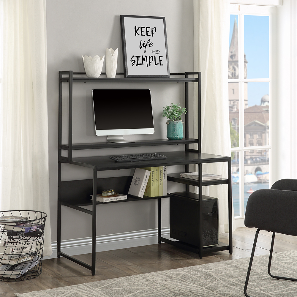 Home Office Computer Desk with Bookshelf & Detachable Display Riser & CPU Bracket - Black